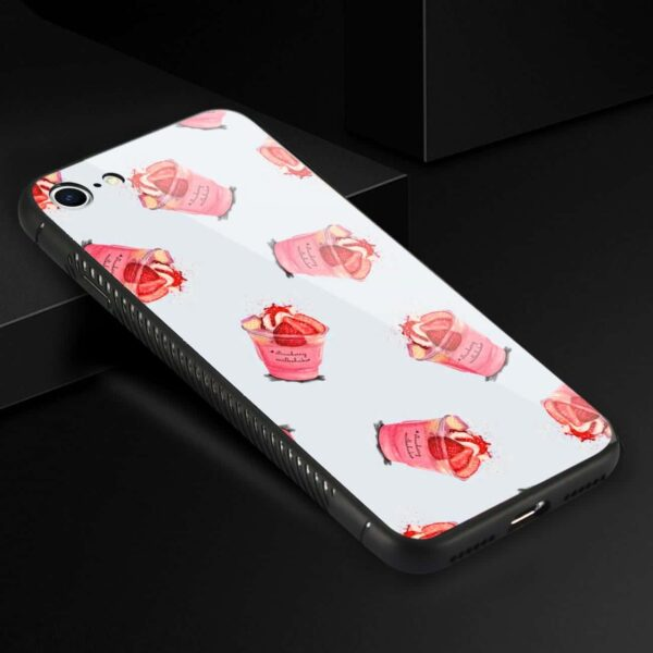 iPhone 8 Hard Glass Design TPU Case With Strawberry Cups