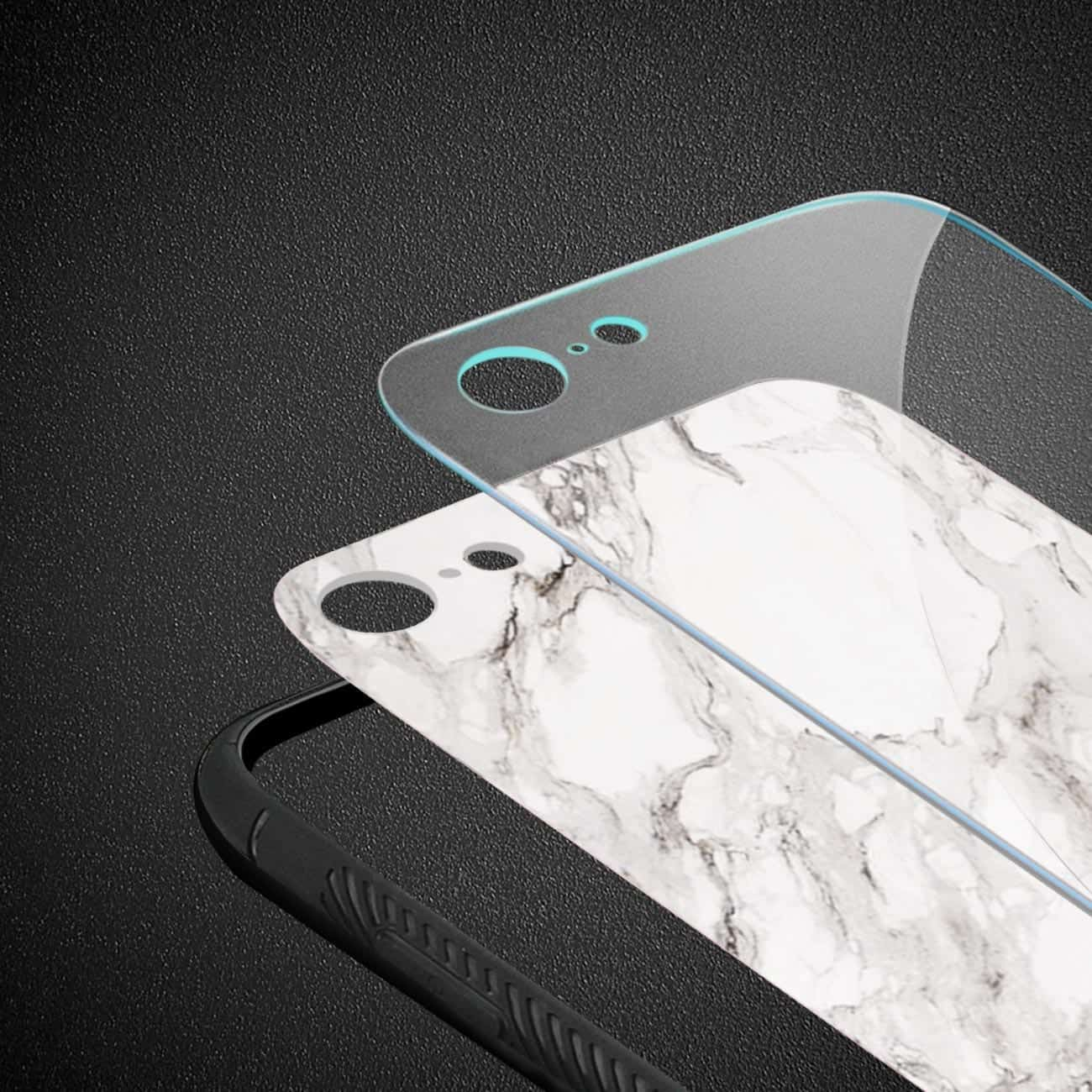 iPhone 8 Hard Glass Design TPU Case With White Marble
