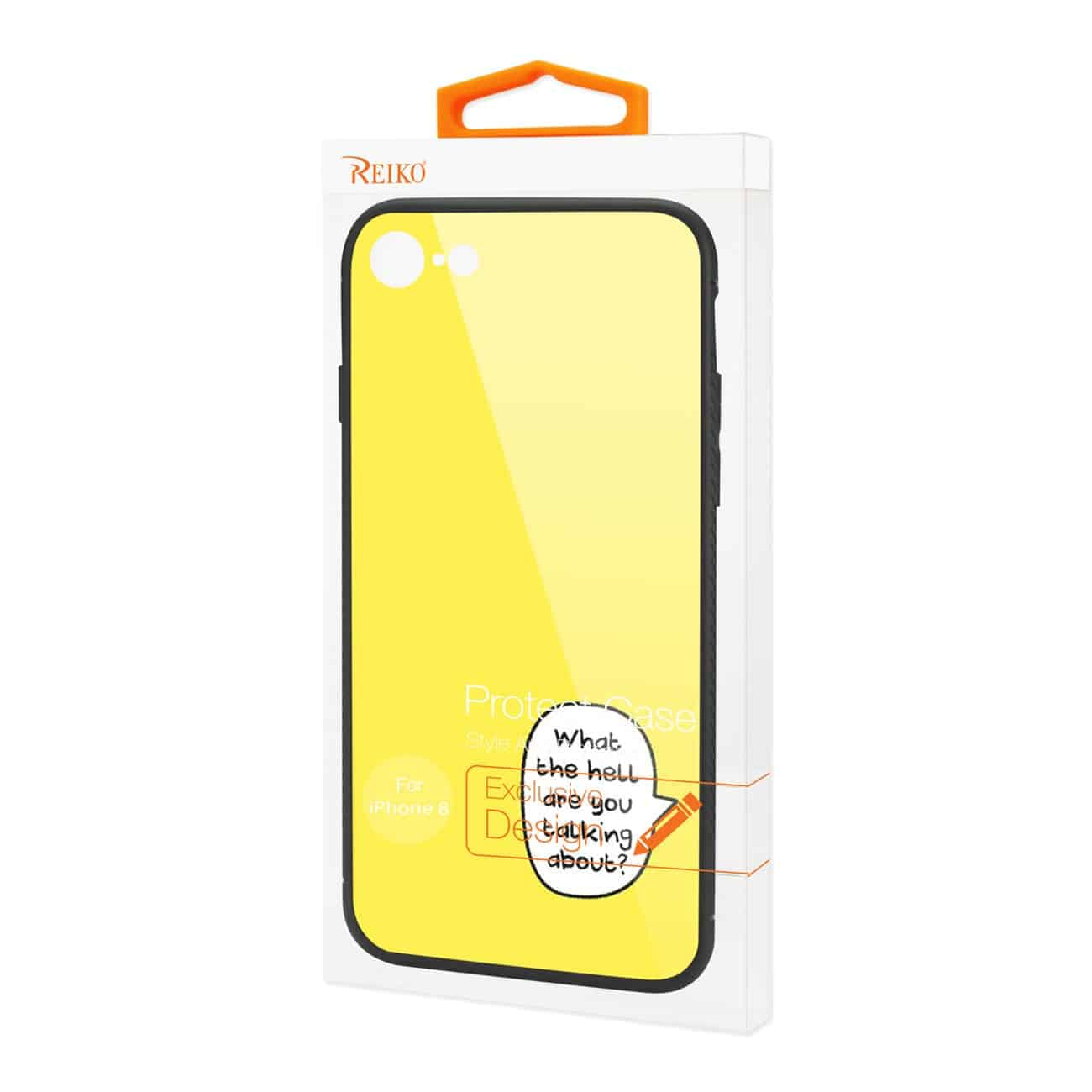 iPhone 8 Hard Glass Design TPU Case In Yellow