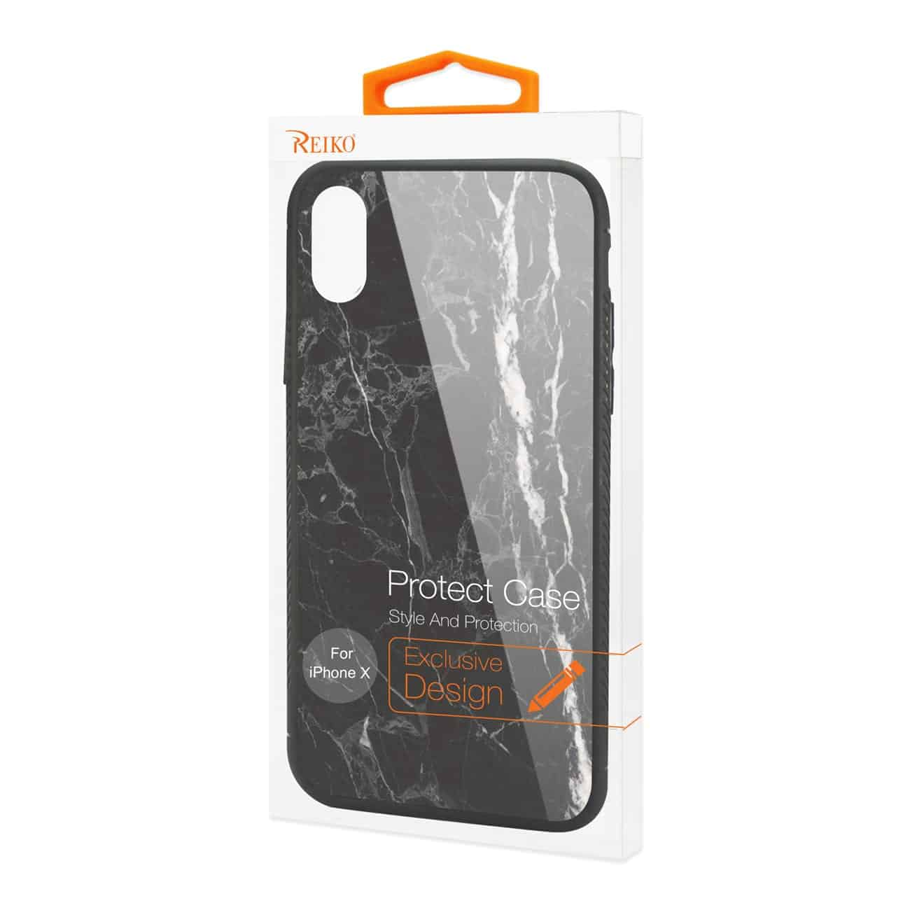 iPhone X/iPhone XS Hard Glass Design TPU Case With Black Marble
