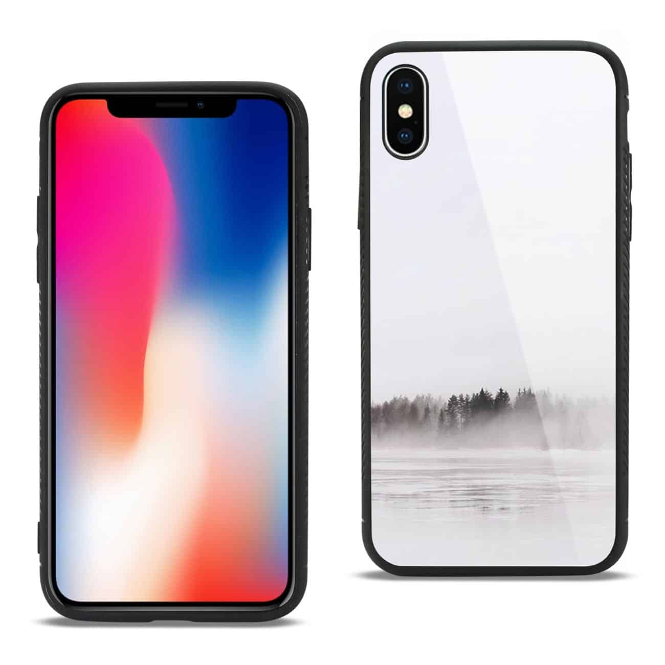 iPhone X/iPhone XS Hard Glass Design TPU Case With Lake Scene