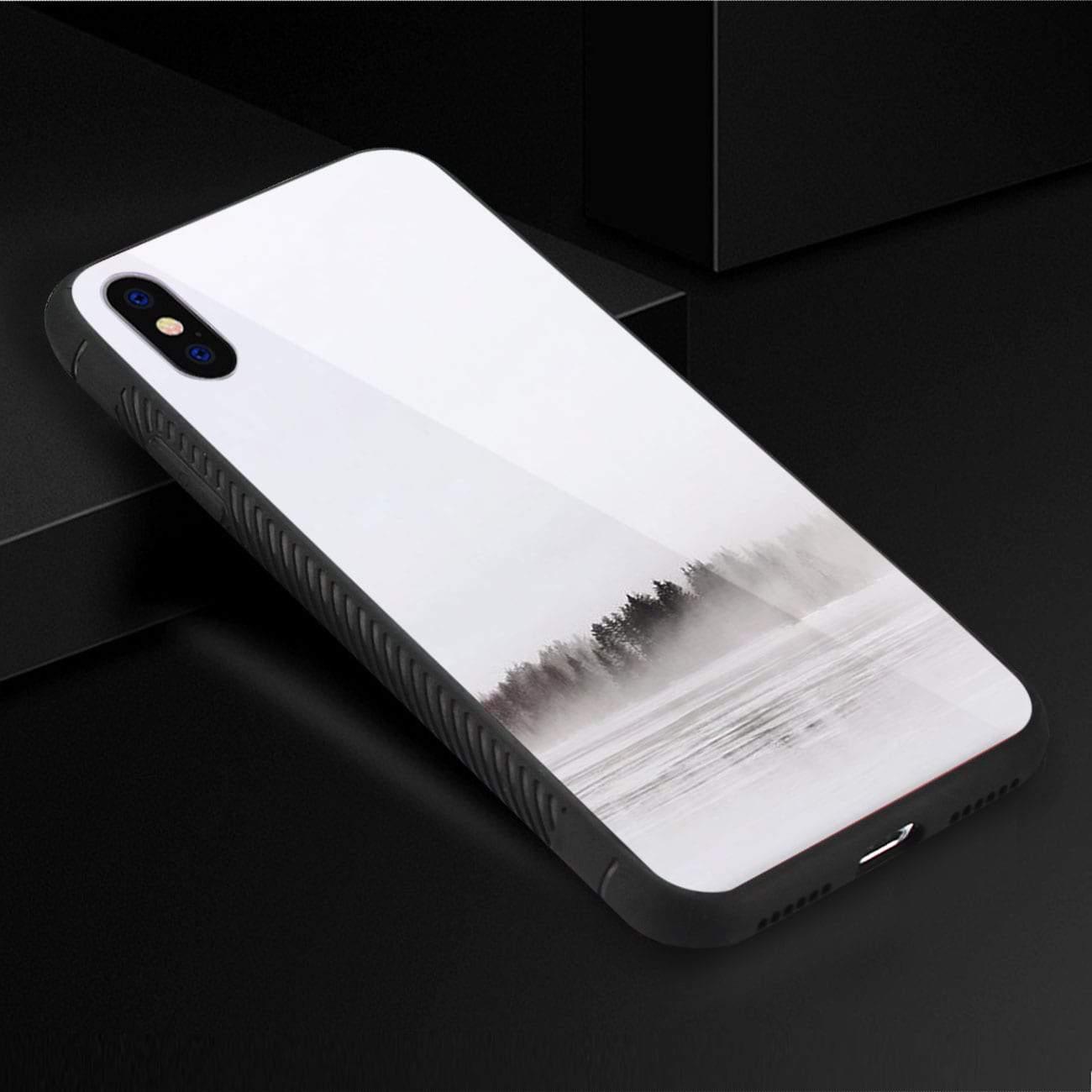 iPhone X/iPhone XS Hard Glass Design TPU Case With Lake Scene