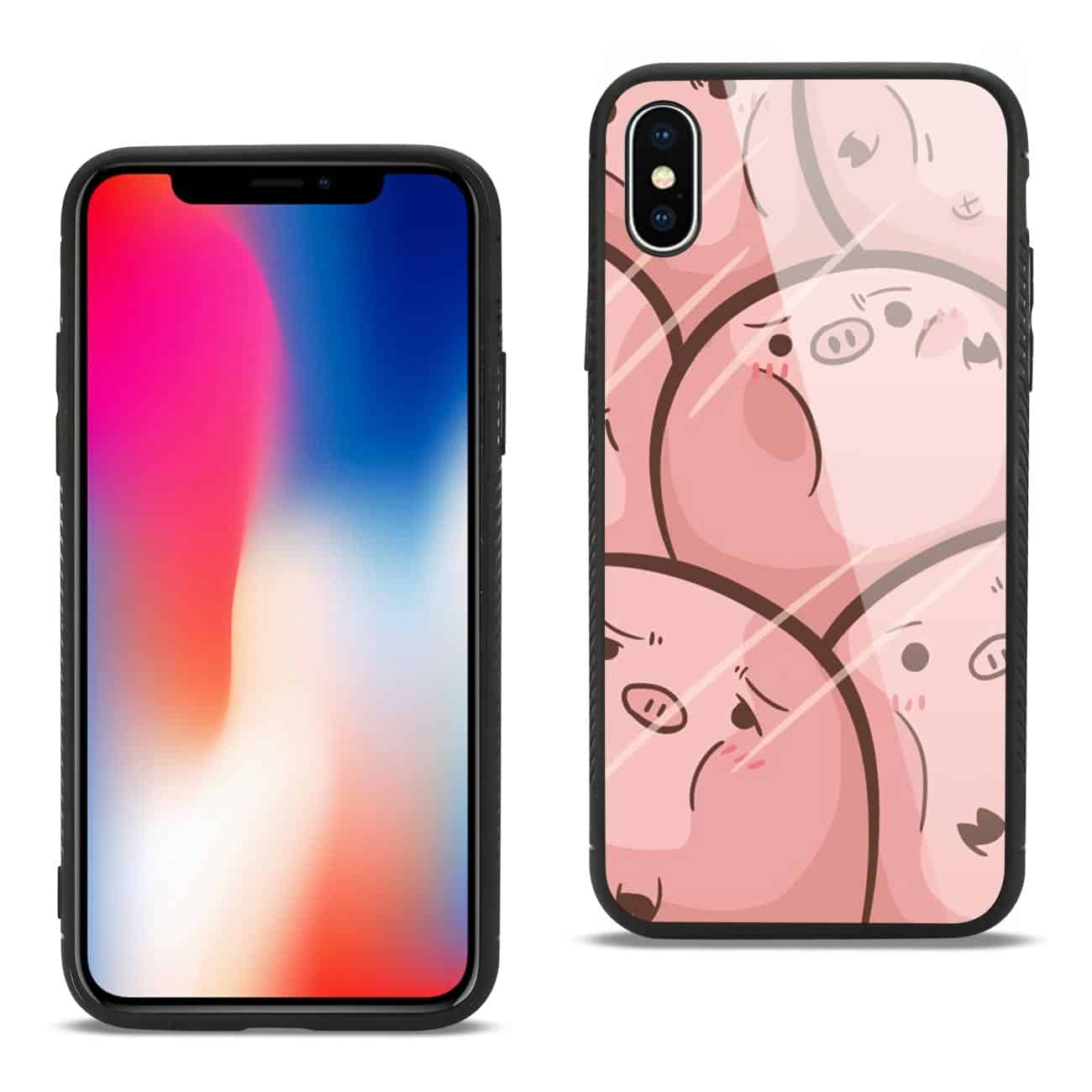iPhone X/iPhone XS Hard Glass Design TPU Case With Pink Pig Faces