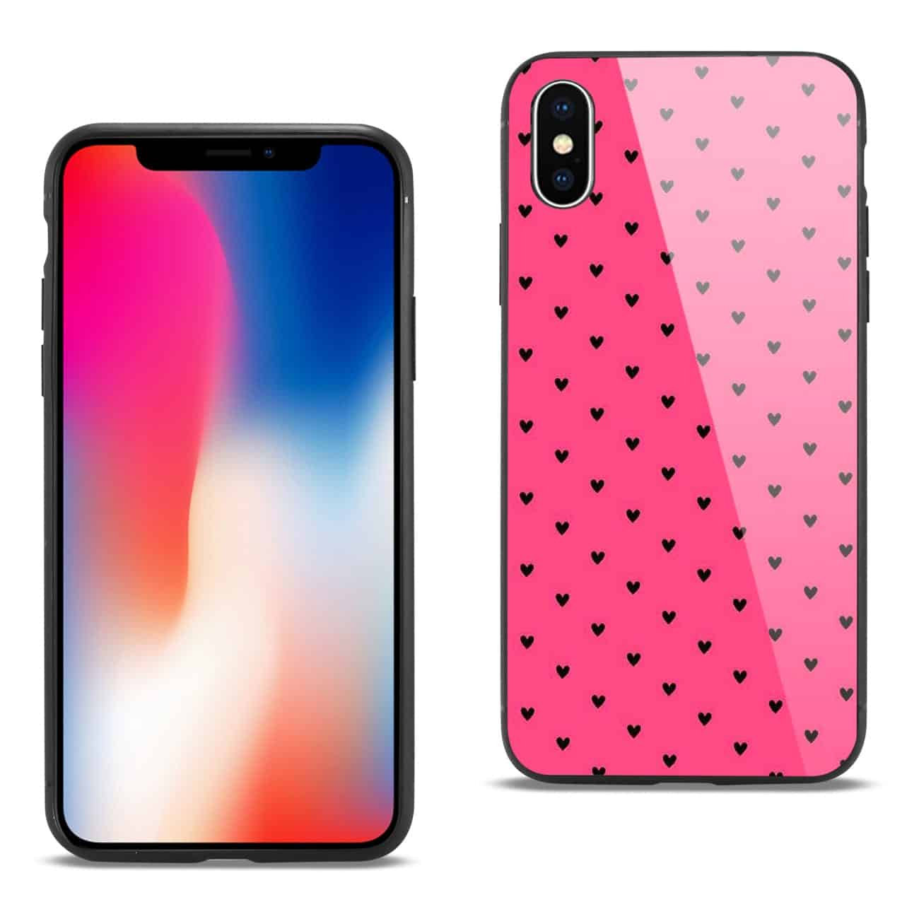 iPhone X/XS Hard Glass Design TPU Case
