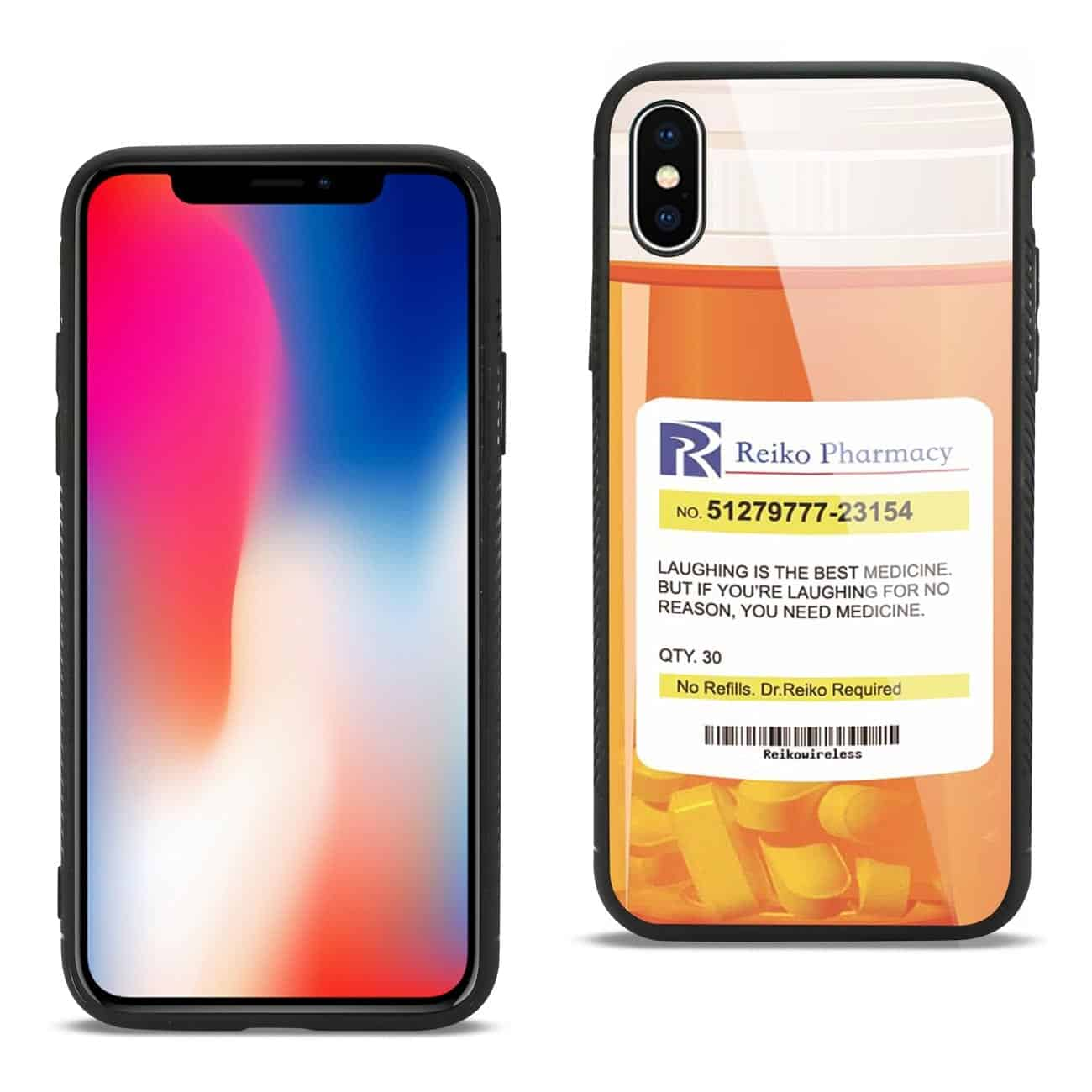 iPhone X Hard Glass Design TPU Case With Pill Container