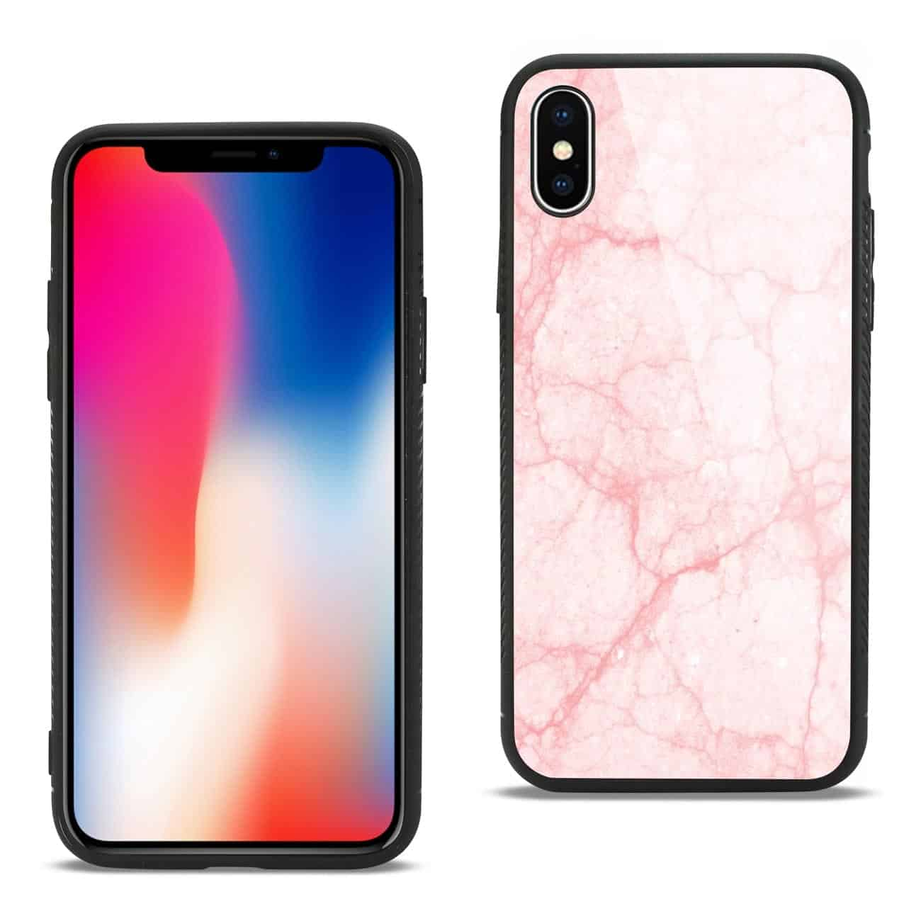 iPhone X/iPhone XS Hard Glass Design TPU Case With Pink Marble