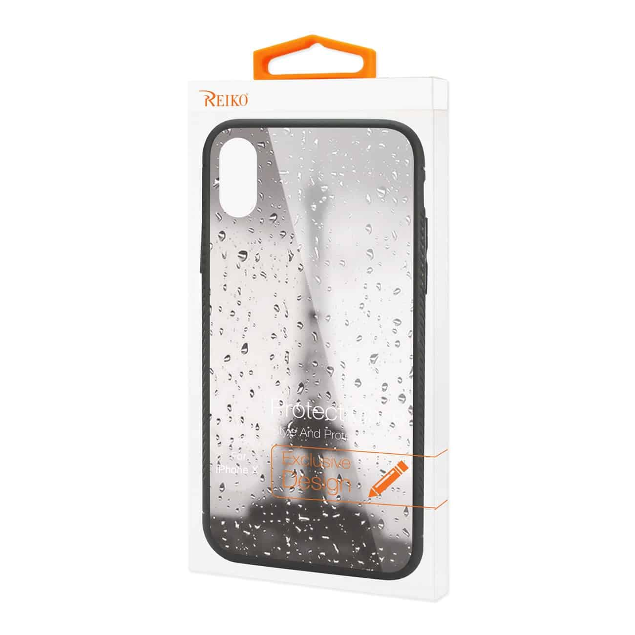 iPhone X/iPhone XS Hard Glass Design TPU Case With Rainy Scene