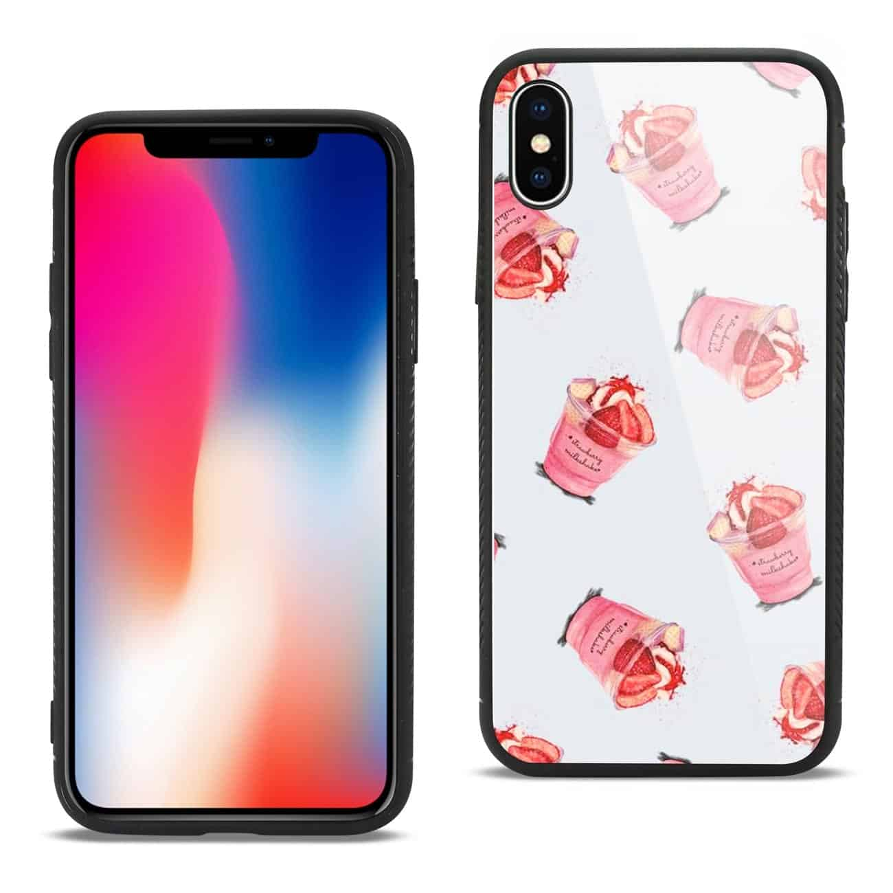 iPhone X/iPhone XS Hard Glass Design TPU Case With Strawberry Cups