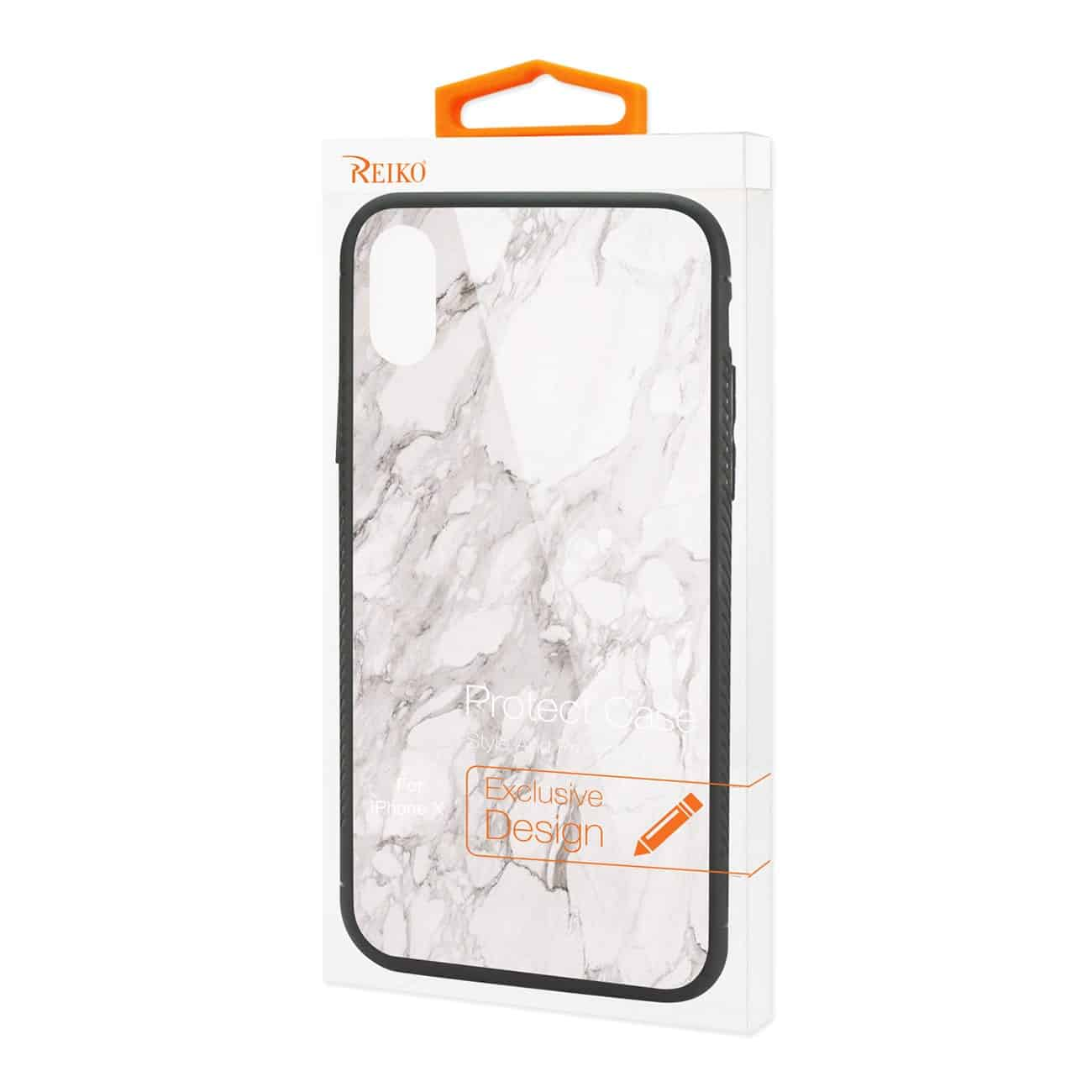 iPhone X/iPhone XS Hard Glass Design TPU Case With White Marble