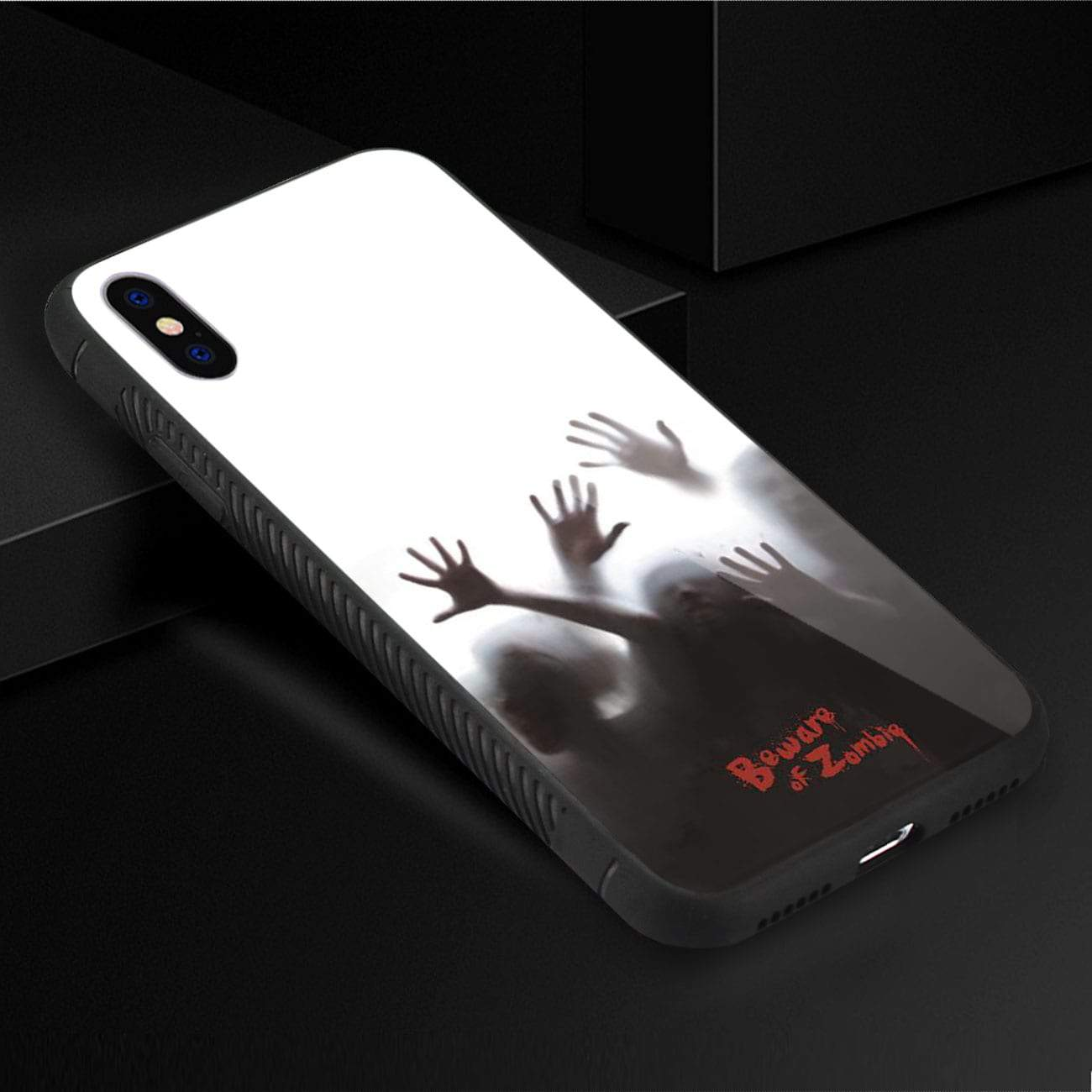 iPhone X/iPhone XS Hard Glass Design TPU Case With Zombies