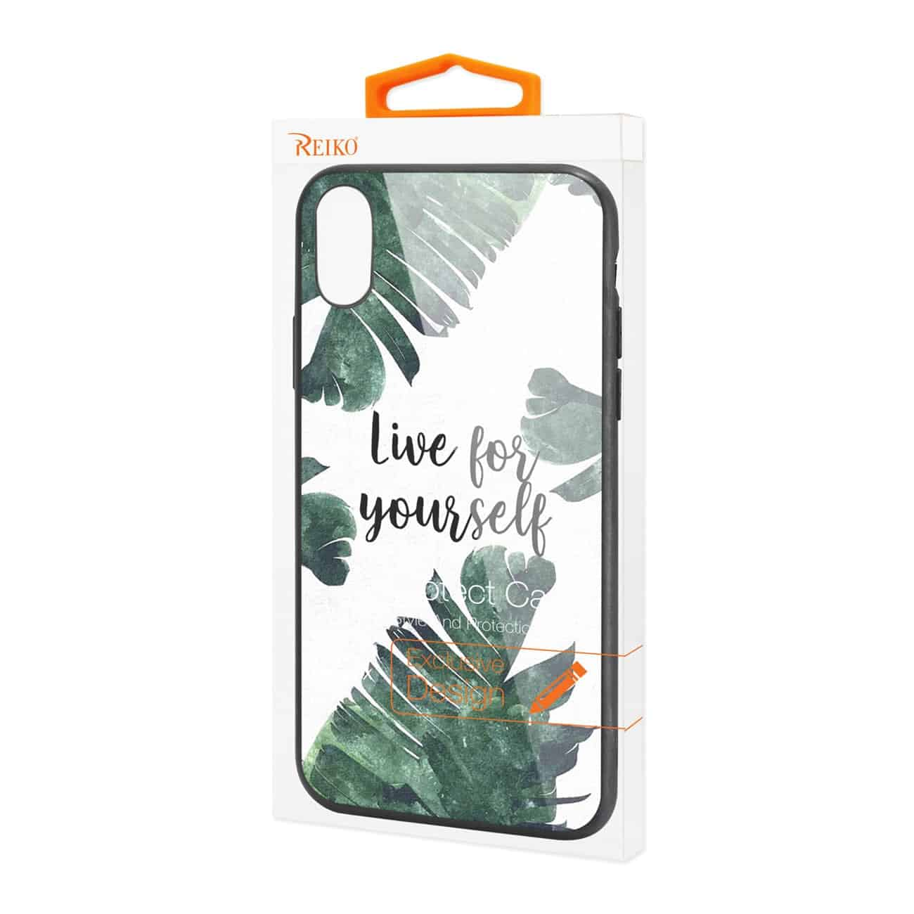 iPhone X Hard Glass Design TPU Case With Leaves Design