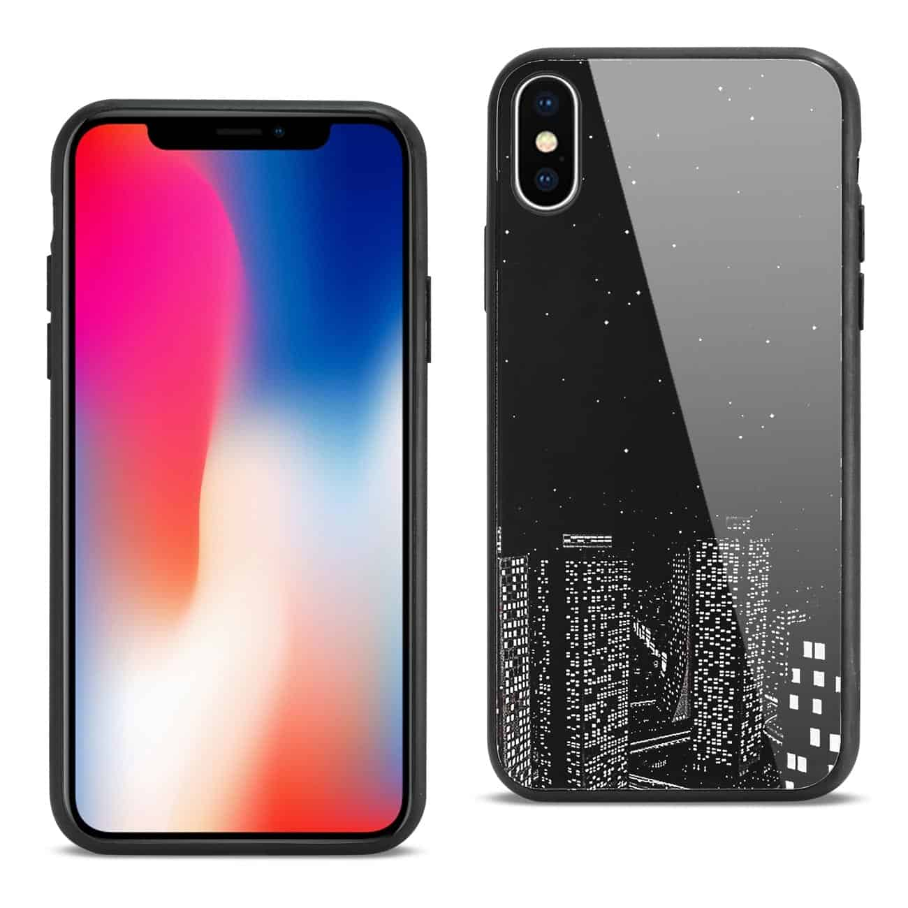 iPhone X Hard Glass Design TPU Case With Night Design