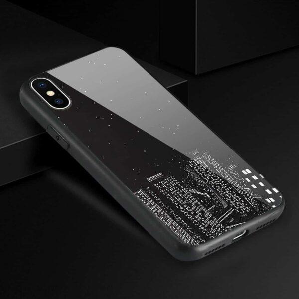 iPhone X Hard Glass Design TPU Case With Night Design
