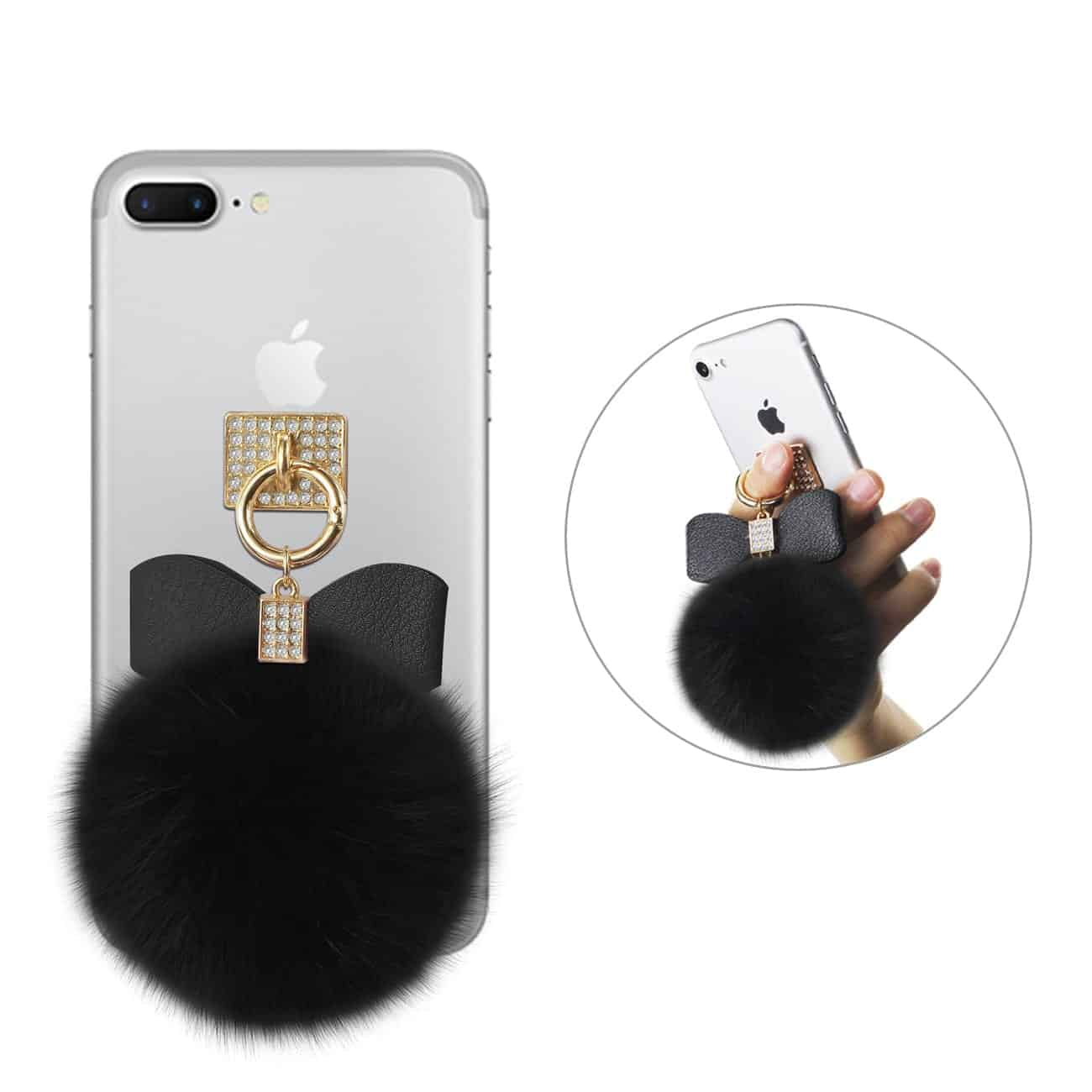 PHONE HOLDER/ FINGER LOOP GRIP WITH RHINESTONE SOFT PUFFY FUR BALL IN BLACK