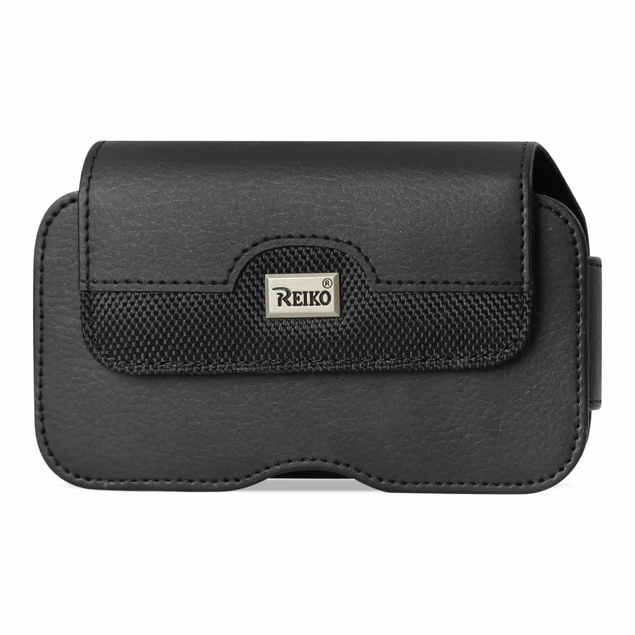 Horizontal Leather Pouch With Metal Logo In Black (7.0X3.9X0.7 Inches)