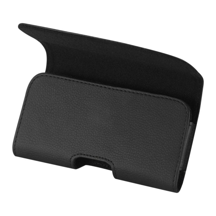 Leather Horizontal Phone Pouch With Embossed Logo In Black (5.1X2.9X0.9 Inches)