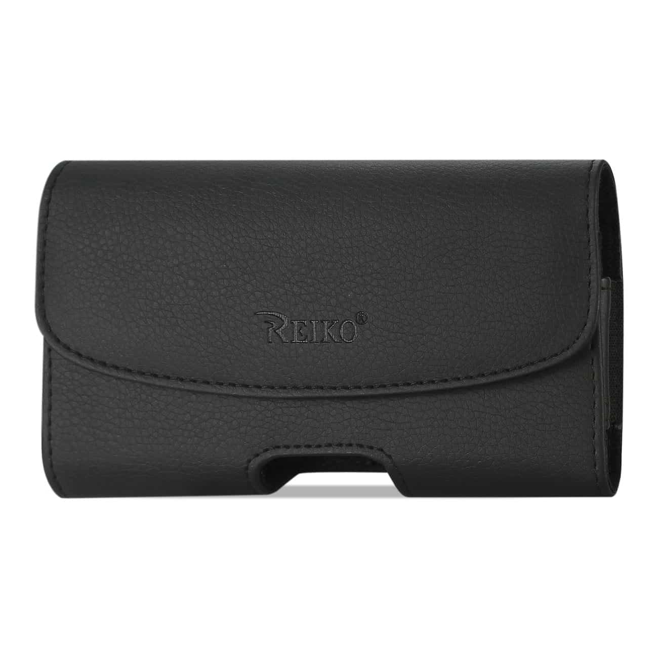 Leather Horizontal Phone Pouch With Embossed Logo In Black (5.2X3.0X0.8 Inches)