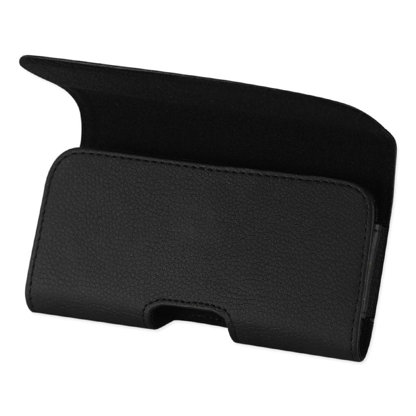Leather Horizontal Phone Pouch With Embossed Logo In Black (5.4X3.0X0.8 Inches)