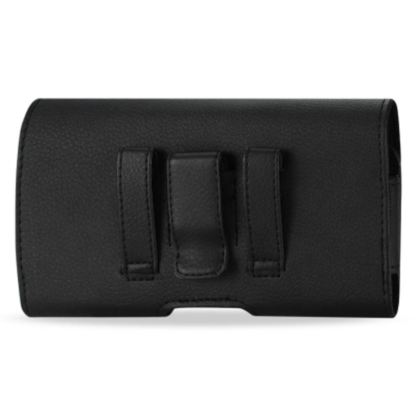 Leather Horizontal Phone Pouch With Embossed Logo In Black (5.5X2.9X0.5 Inches)