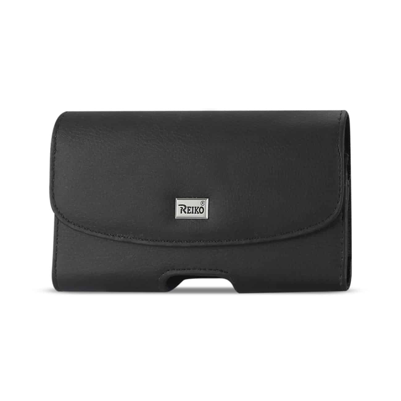 Horizontal Leather Pouch With Embossed Logo In Black (3.5X2.1X1.1 Inches)