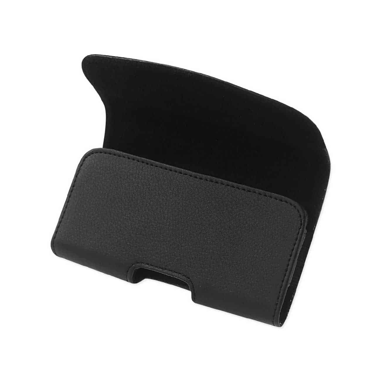 Horizontal Leather Pouch With Embossed Logo In Black (6.4X3.5X0.7 Inches)