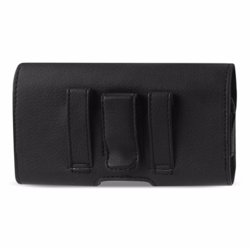 Horizontal Leather Pouch With Embossed Logo In Black (6.6X3.5X0.7 Inches)