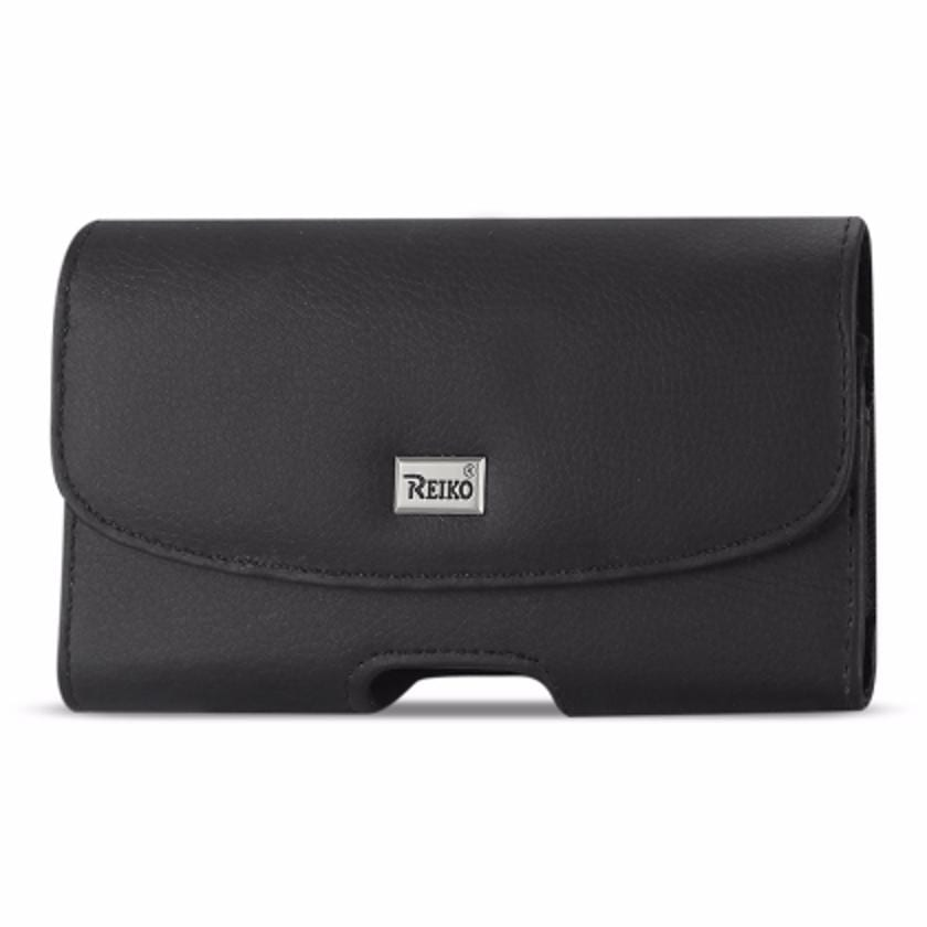 Horizontal Leather Pouch With Embossed Logo In Black (7.0X3.9X0.7 Inches)
