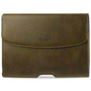 SMOOTH HORIZONTAL LEATHER POUCH IN ARMY GREEN