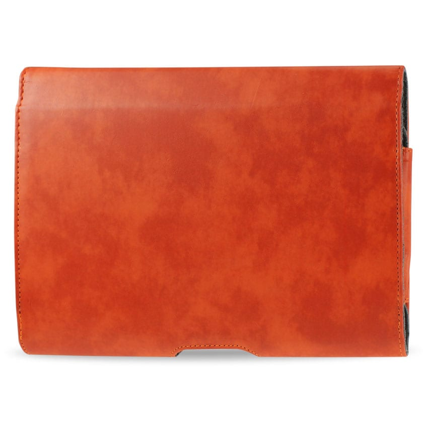 SMOOTH HORIZONTAL LEATHER POUCH IN ORANGE