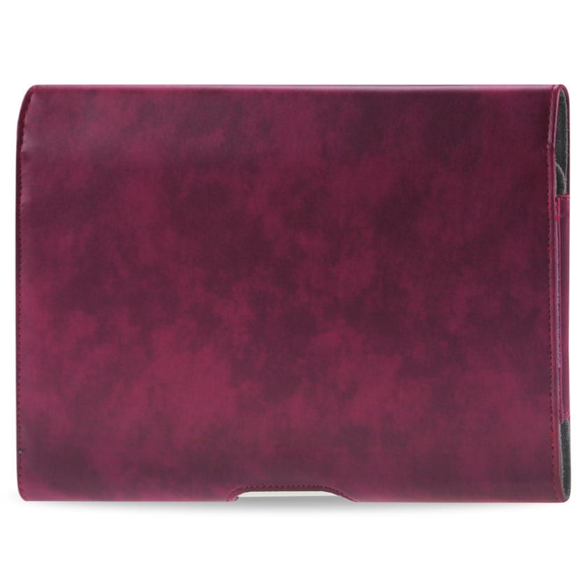 SMOOTH HORIZONTAL LEATHER POUCH IN RED