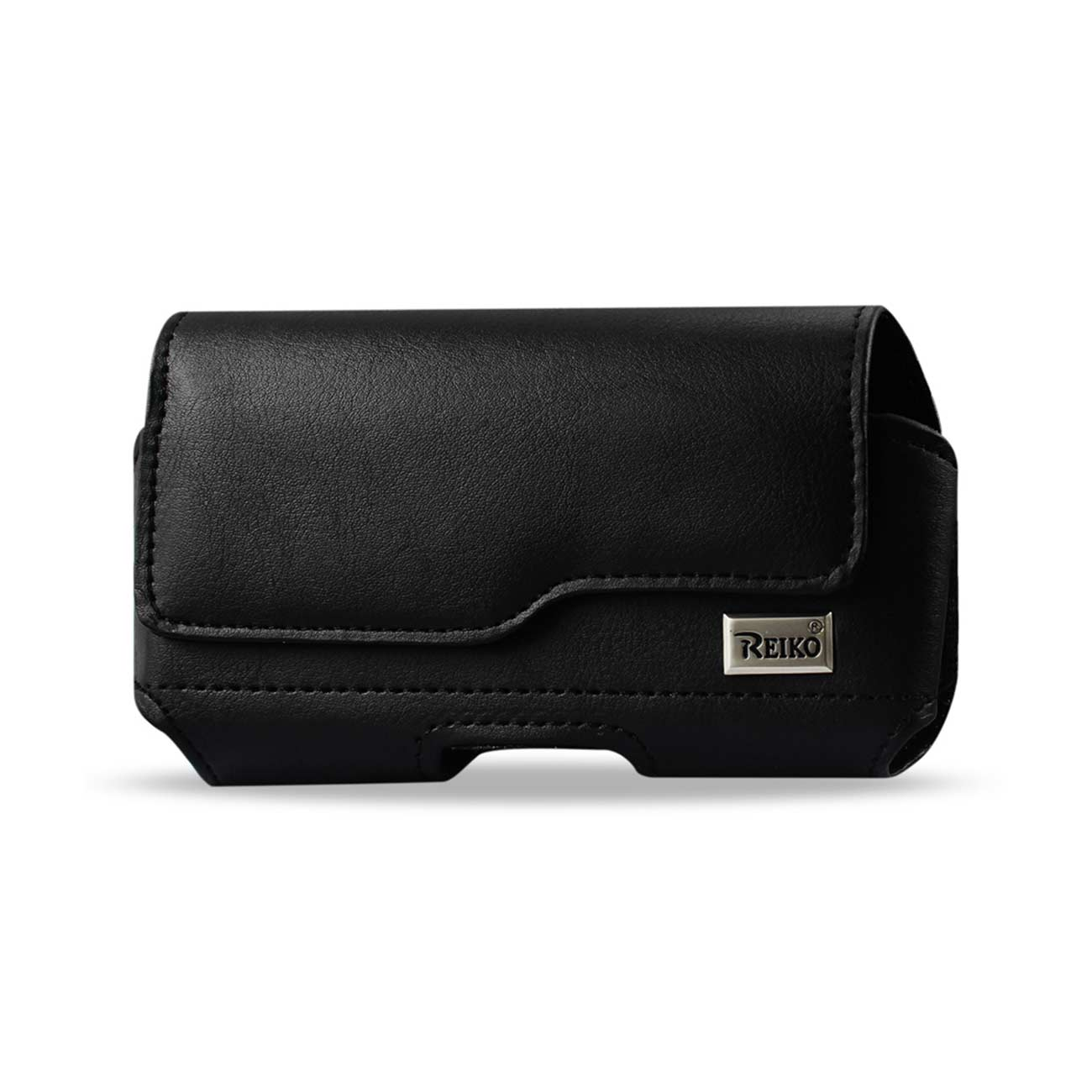 Horizontal Leather Pouch With Z Lid Pattern With Embossed Logo In Black (6.6X3.5X0.7 Inches)