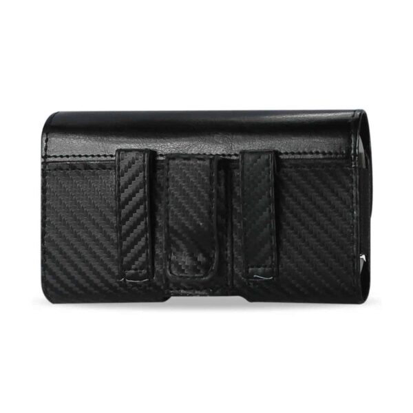 HORIZONTAL Z LID POUCH MAT PATTERN WITH ELASTIC SIDES IPHONE4 PLUS BLACK
