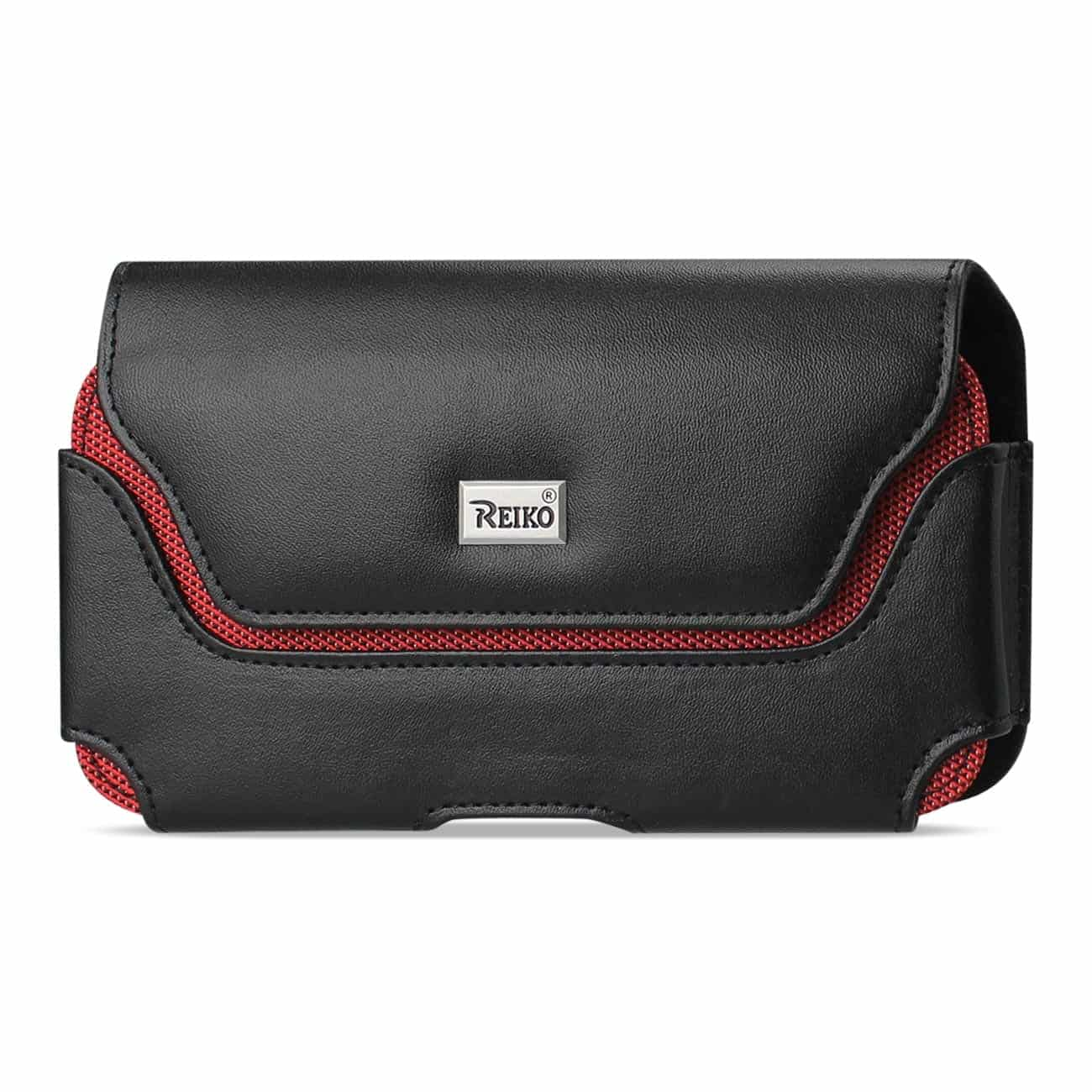 Horizontal Leather Pouch With Red Bee Nest Interior In Black (5.8X3.2X0.7 Inches)
