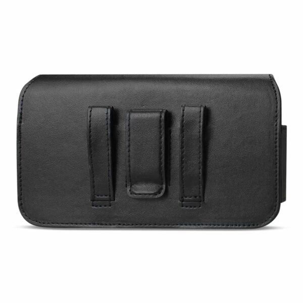Horizontal Leather Pouch With Red Bee Nest Interior In Black (6.6X3.5X0.7 Inches)