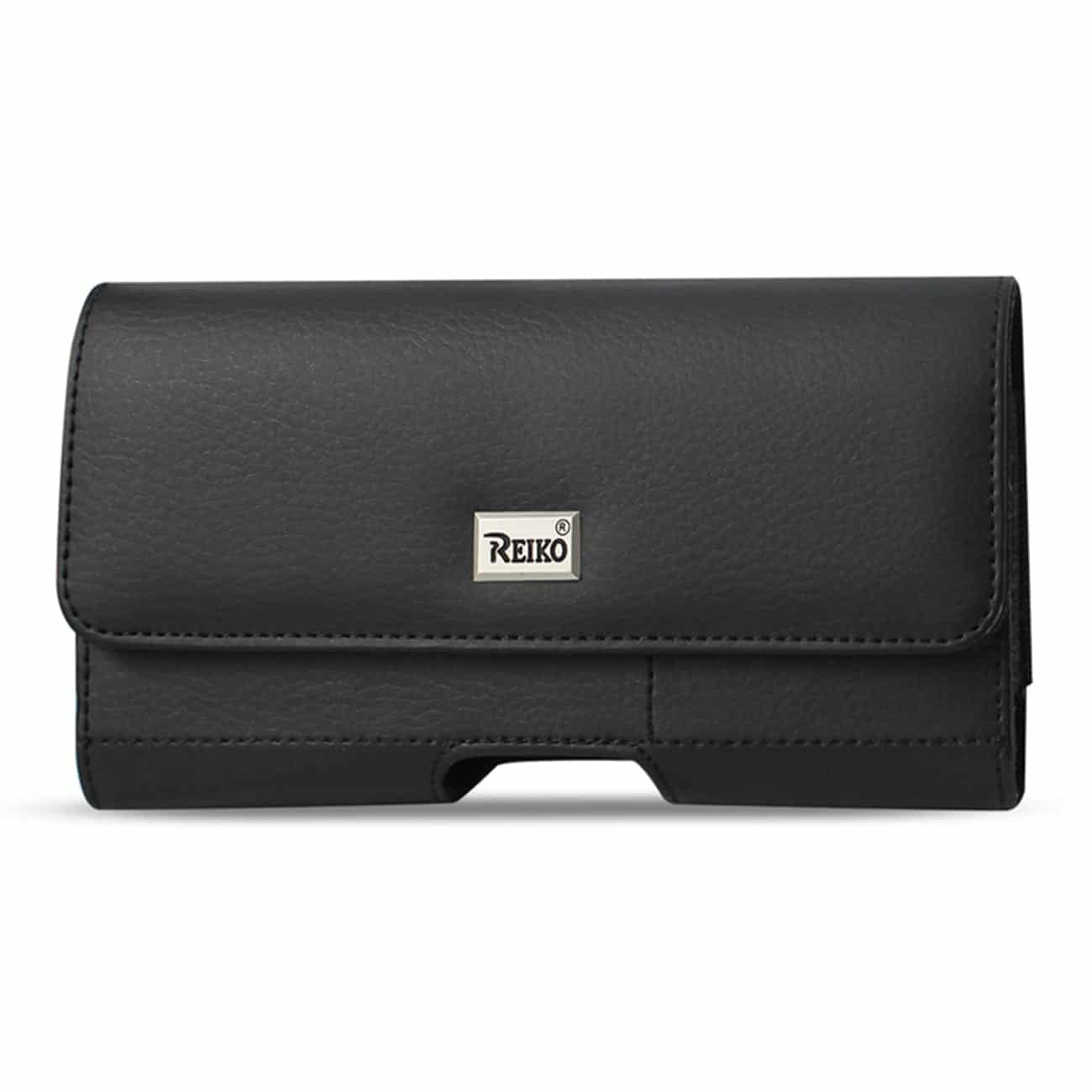 Horizontal Leather Pouch With Card Holder In Black (7.0X3.9X0.7 Inches)