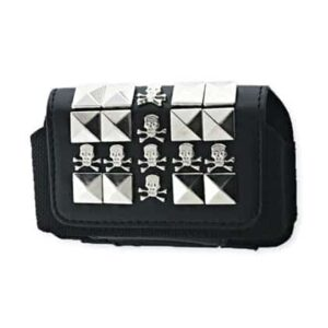 HORIZONTAL POUCH HP69 SIZE:S METAL DESIGNSKULL BLACK 3.5X1.9X0.9 INCHES