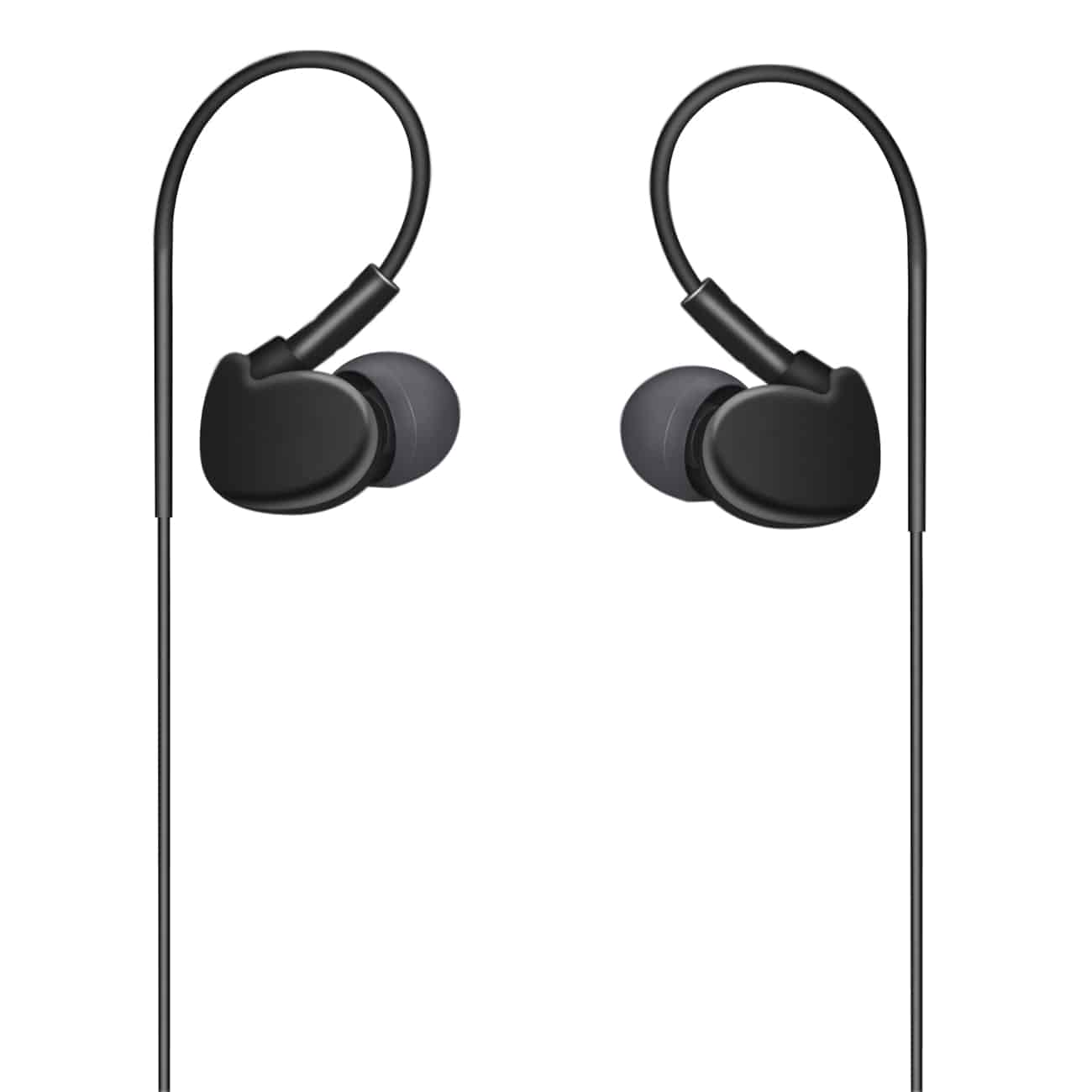 UNIVERSAL SPORT STEREO EARPHONES W. TANGLE FREE NOODLE CABLE AND MIC IN BLACK