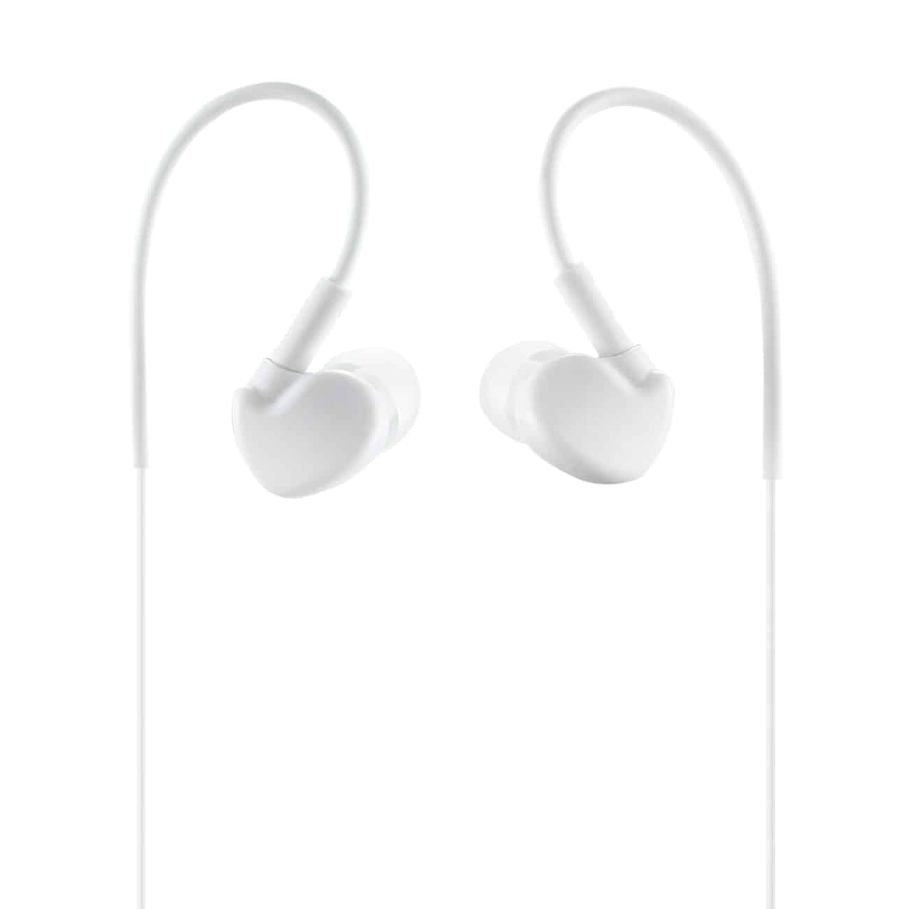 UNIVERSAL SPORT STEREO EARPHONES W. TANGLE FREE NOODLE CABLE AND MIC IN WHITE