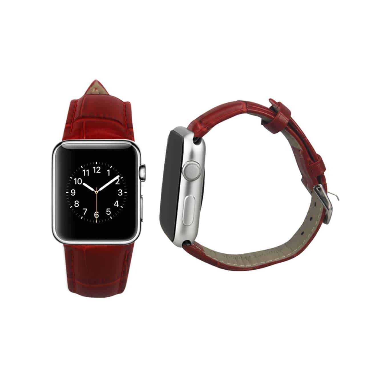 WATCH 38MM GENUINE LEATHER IWATCH BAND STRAP WITHOUT BAND ADAPTORS 38MM IN RED