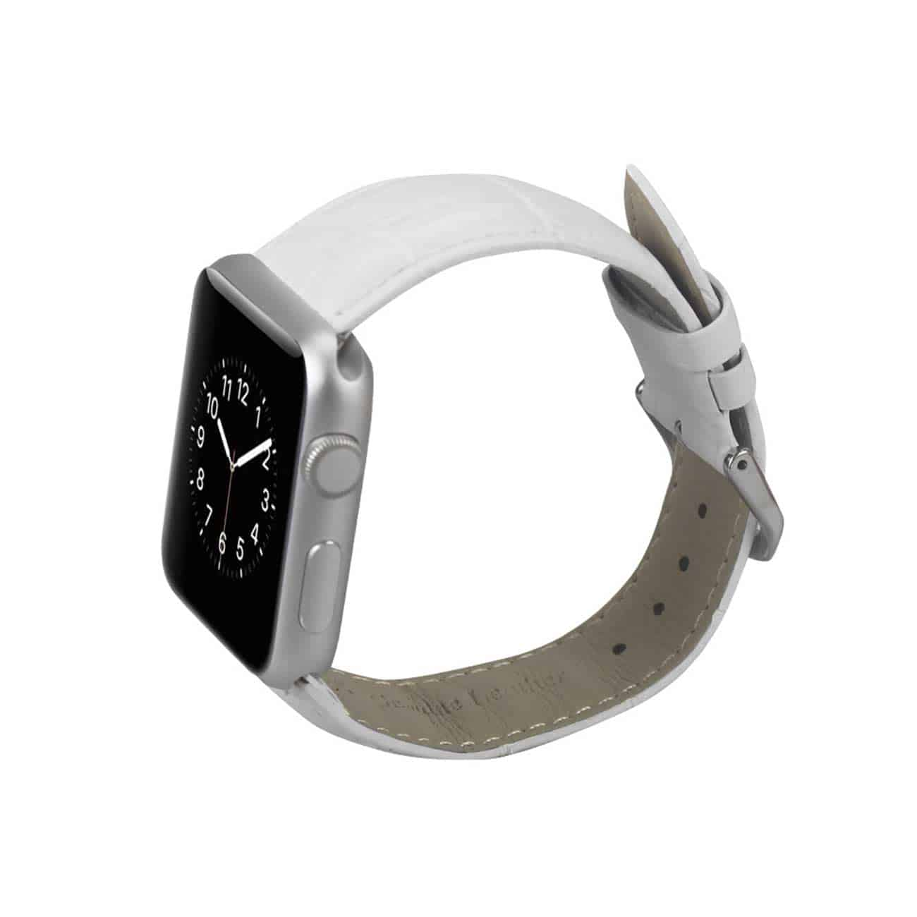 WATCH 38MM GENUINE LEATHER IWATCH BAND STRAP WITHOUT BAND ADAPTORS 38MM IN WHITE