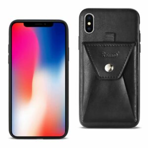 iPhone X Durable Leather Protective Case With Back Pocket In Black