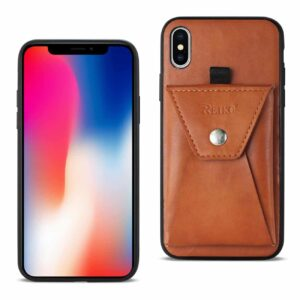 iPhone X Durable Leather Protective Case With Back Pocket In Brown