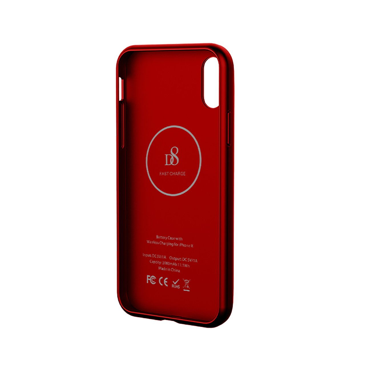 iPhone X Battery Case with Qi Wireless Charging In Red