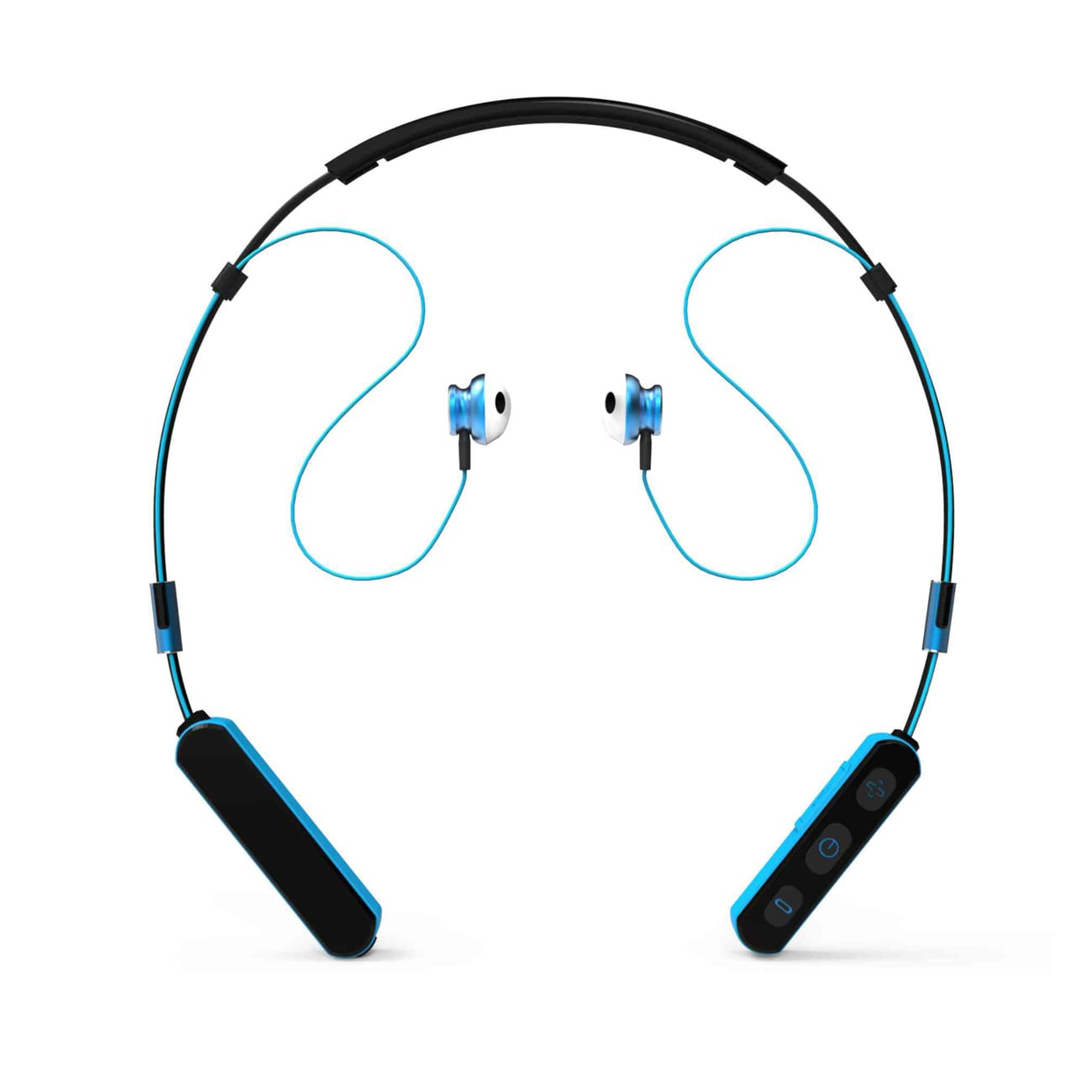 Neck Band Sport Bluetooth Earphones in Black and Blue