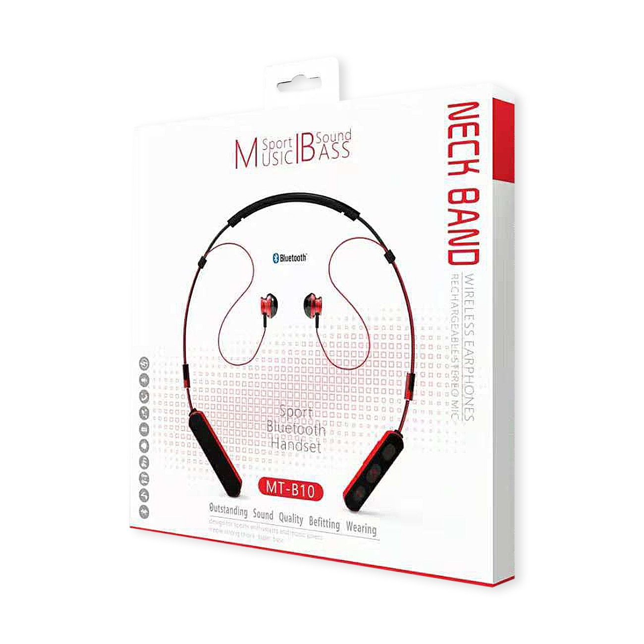 Neck Band Sport Bluetooth Earphones in Black and Red