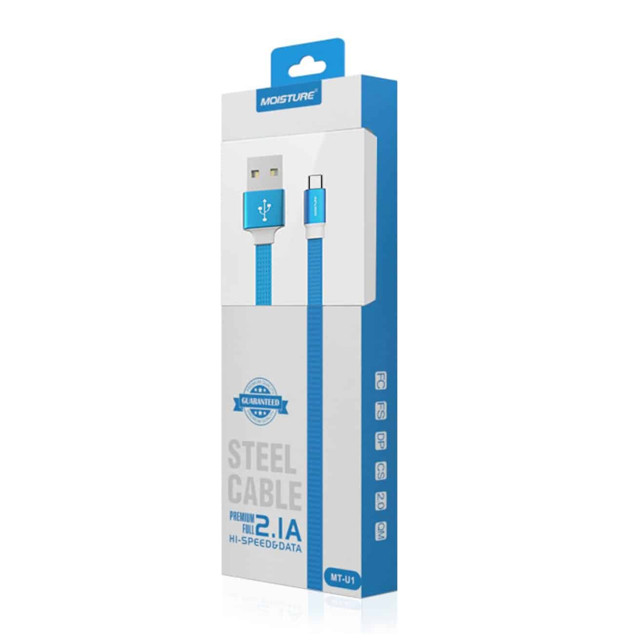 High Speed Type-C Steel Data Cable in Blue