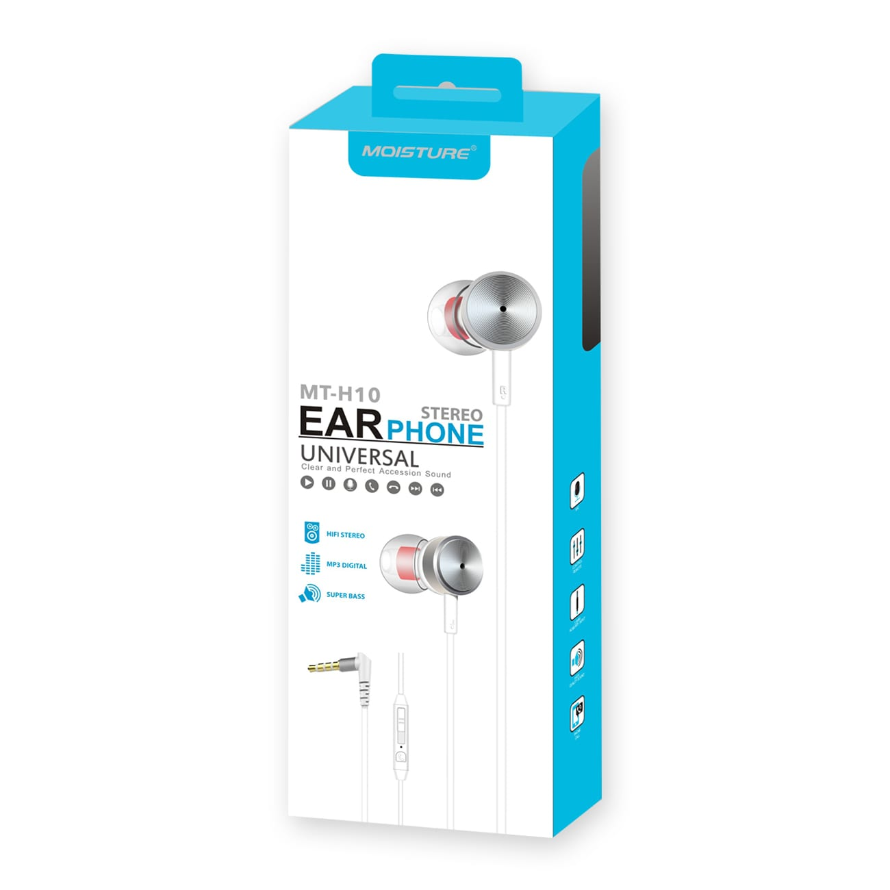 MT-H10 Universal Earphones in Silver