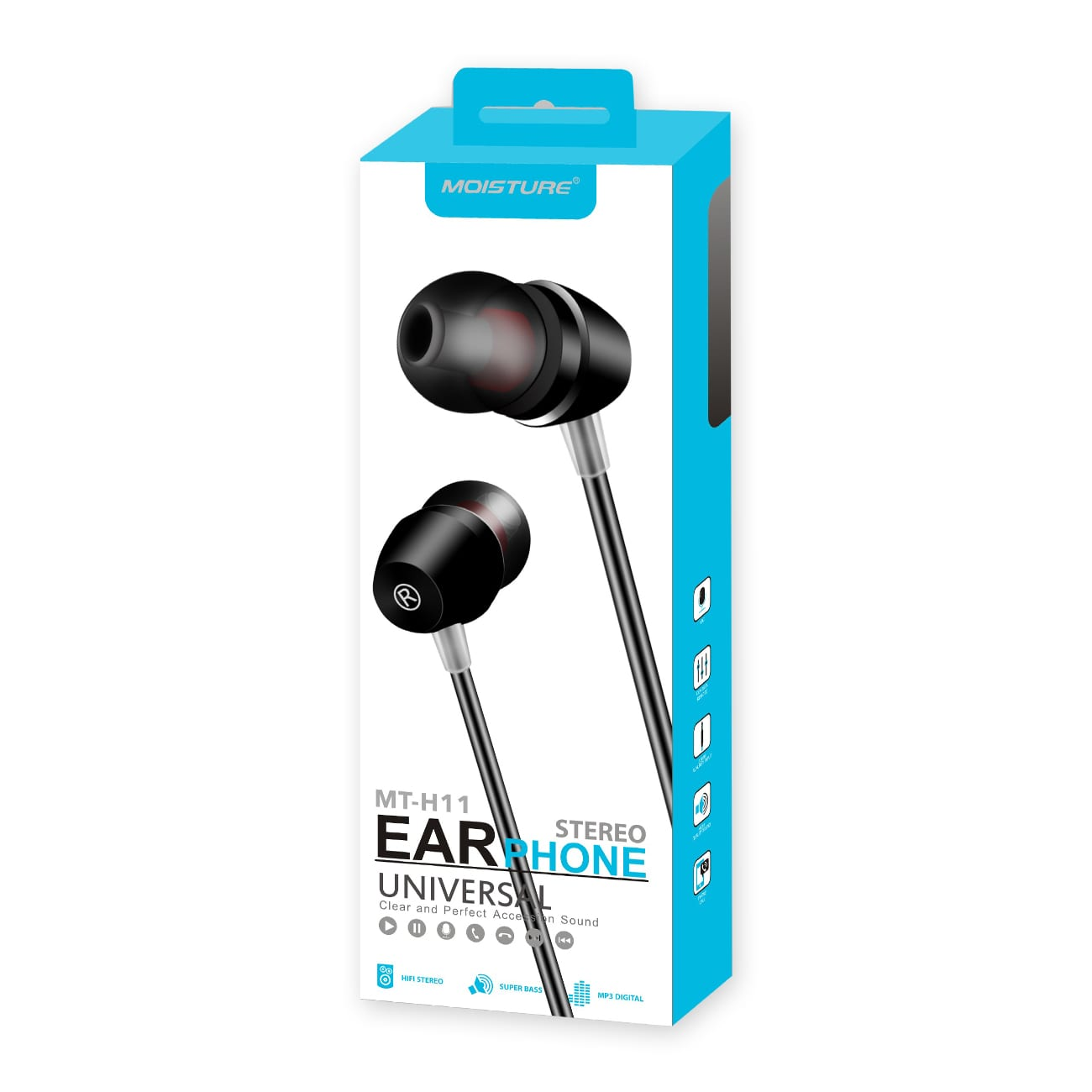 High Quality Sound  Universal In-ear Earphones In Black