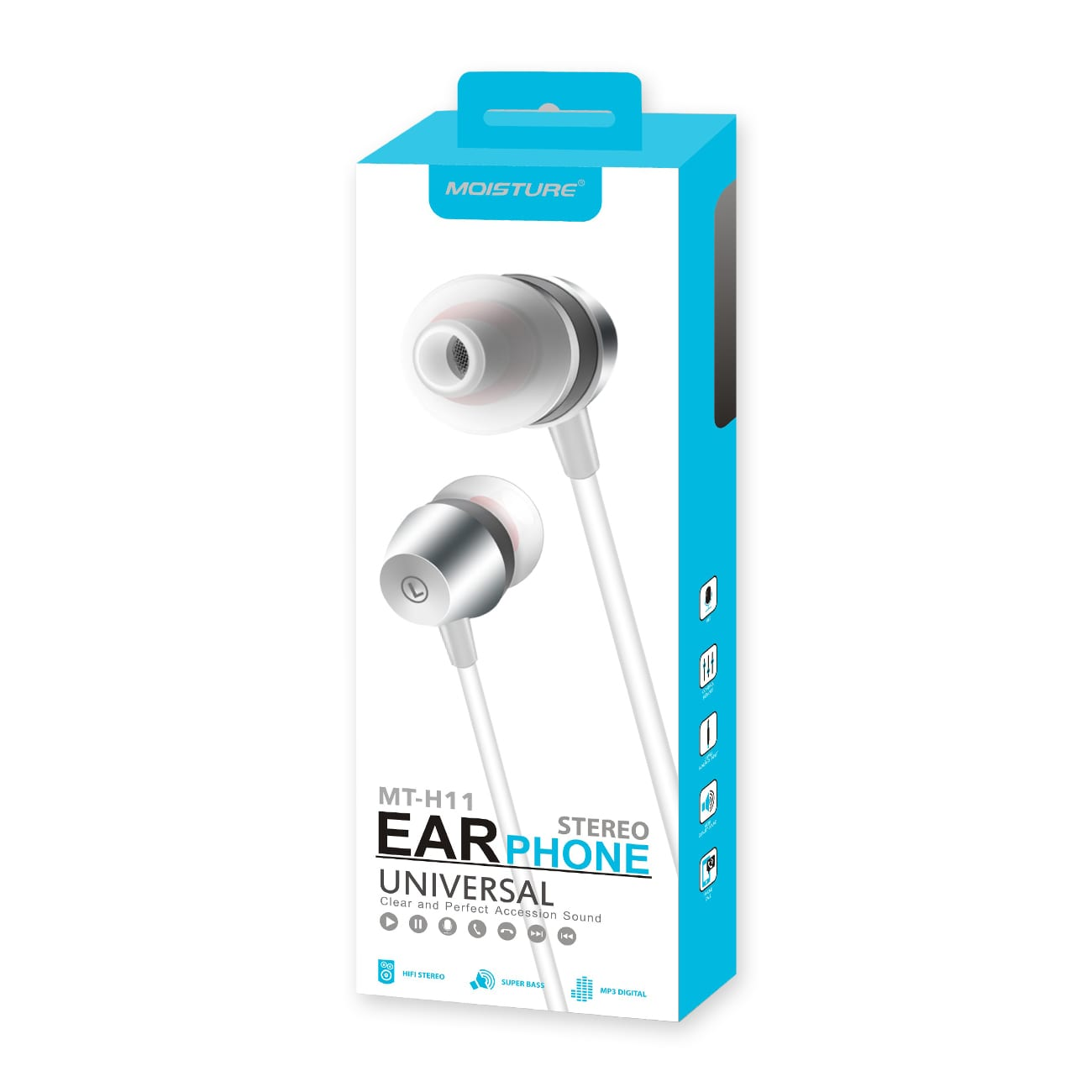 High Quality Sound  Universal In-ear Earphones In Silver