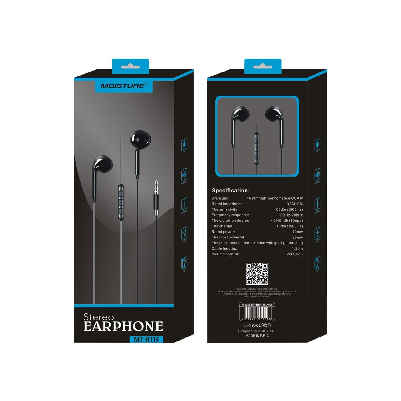 Moisture MT-H114 Stereo Earphones In Black